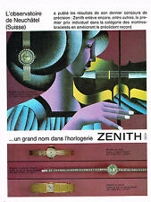 PUBLICITE ADVERTISING 114  1966  ZENITH   observatoire NEUFCHATEL  montres