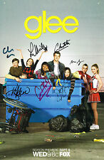 Glee Cast SIGNED 11x17 Poster Lea Michele Cory Monteith NOT MINT COA
