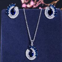 CWWZircons Blue Leaf Cubic Zirconia Necklace Earrings Jewelry Sets for Women