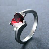 1.6ct Heart Cut Red Garnet Engagement Ring 14k White Gold Over Trilogy Solitaire