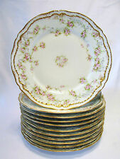 Limoges France Schleiger 11 Luncheon or Side Plates Gold Trim & Roses Haviland