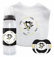 Nhl Pittsburgh Penguins Baby Gift Set Pacifier Bib Bottle