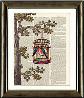 Antique Book page Art Print - Bird Cage Tree Birds Vintage Dictionary Wall Art