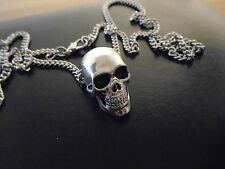 """hig Fine Detail & Quality SILVER plated SKULL NECKLACE 27"""" Silver/ black  Chain."""