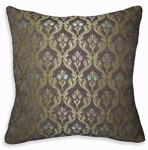 We403a Brown Damask Flower Check Chenille Throw Pillow Case/Cushion Cover*Size
