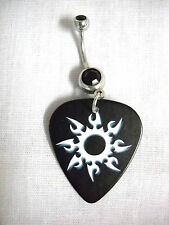 TRIBAL INK TATTOO SUN FLARE PRINTED GUITAR PICK w BLACK CZ BELLY RING NAVEL BAR