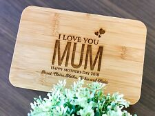"""I Love You Mum"" Mothers Day Gifts - Personalised Engraved Mini Bamboo Board"
