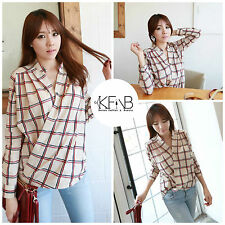 Plaid Shirt Top Blouse Office Lady Work Casual Ivory