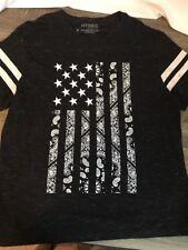 NWOT Mens Hybrid Apparel Flag graphic shirt weathered black size 2XL
