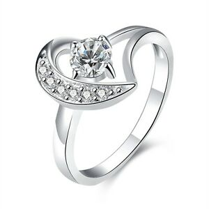Mediu Size O Ring silver heart with rhienstones engagement cocktail new FR244