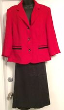 2 PC SUIT RED JACKET SIZE 18 STUDIO 1 BLACK SKIRT SIZE 14 EVAN-PICONE