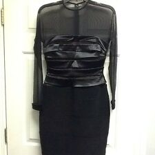 Tadashi Black Stretch Satin Sheer Short Cocktail Party Holiday Dress Medium