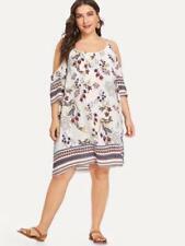 NEW..Stylish Plus Size Cold Shoulder Strappy Print Dress..SZ18/2XL