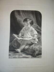 H. HOLFELD (1804-1872) GRANDE SCENE ENFANTINE GRAVURE ENFANT ECOLE RELIGION 1860