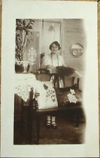 Majagua, Ciego de Avila, Cuba 1935 Realphoto Postcard: Woman in Home