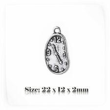 10 Tibetan Silver Antique Vintage Style Clock Charms Pendant Steampunk 058s