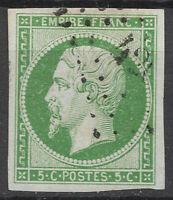 FRANCE NAPOLÉON N°12 vert oblitération légère signé Calves TTB