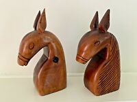 PAIR OF VINTAGE SOLID CARVED WOOD SCANDINAVIAN HORSE BOOKENDS