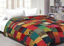 Indian kantha quilt cotton handmade queen size multi bedspread bedding blanket
