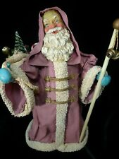 Midwest of Cannon Falls Fabric Mache Santa Claus Pink Mauve Coat w/Toys 10""
