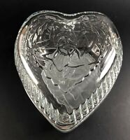 Lady Love Heart Shaped Glass Candy Dish With Lid by Home Interiors