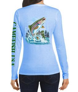 Women's UPF 50 Lightweight Microfiber Performance Fishing Shirt Trout