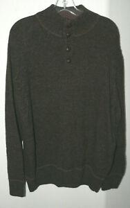 Men's Daniele Blasi Sweater SZ XL Made in Italy 1/4 Button Mock Neck Wool/Nylon
