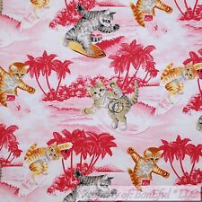 BonEful Fabric FQ Cotton Quilt Pink White Tropical Island Surfer Beach Girl Cat