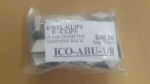 "100PCS  ICO-ABU-1/8  1/8"" DIAMETER ADHESIVE BACK KWIK - KLIPS, U - CLIPS"