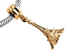 9ct Yellow GOLD Handmade Paris Eiffel Tower Dangle Charm Fits EUROPEAN BRACELETS