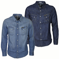 Wrangler Mens Denim Shirt in Dark/Light Indigo Blue Designer Tops All Size S-XXL