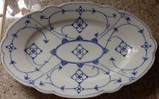 """Kalk Crossed Arrows Marked Blue & White Floral Oval 12"""" Serving Platter"""