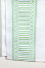 "Green Stitched Embroidered White Long Table Runner Geometric Design 72"" x 13"""