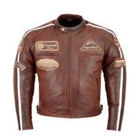 Blouson En Cuir Pour Moto,Motard Veste Pour Homme,Retro  Vintage Chopper Blouson