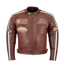 Veste Blouson En Cuir pour Moto Homme, Vintage Chopper, Homme Blouson Cuir Neuf