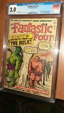 CGC 3.0 Fantastic Four # 12. First Meeting Fantastic Four & Incredible Hulk MCU.