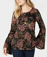 Style & Co Women's Medium Blouse Long Bell-Sleeve Tunic Top Floral NEW #29