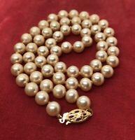 "14k Gold Estate Vintage Necklace Faux Pearls Antique strand 16"""