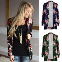Vintage Women Floral Print Kimono Cape Jacket Coat Cardigan Blouse Top Plus Size