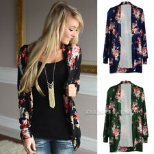 Vintage Women Floral Print Kimono Cape Jacket Coat Cardigan Blouse Top Plus Size