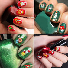 12pcs Christmas Nail Stickers Decals 3D Nail Art Stencils Designs Self-adhesive