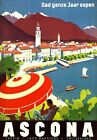 "Vintage Illustrated Travel Poster CANVAS PRINT Ascona Switzerland 24""X18"""
