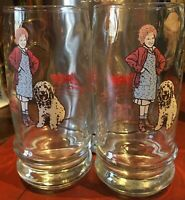 Little Orphan Annie and Sandy Swensen's Collector Glass Cup 1982 Columbia