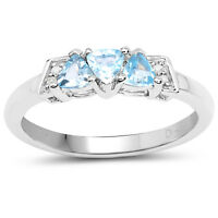 Sterling Silver Blue Topaz & Diamond  Engagement Ring Size HIJKLMNOPQRSTUV