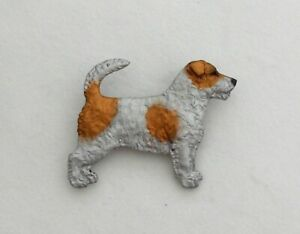 Dog Show Breed Brooch pin  - Tan & White Jack Russell Terrier