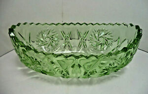 Green Pressed Glass Boat-Shape Posy Vase or Bowl Saw Tooth Rim Vintage Art Deco