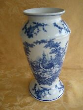 Baum Brothers Formalities Blue and White Roosters Chickens Vase Made in China