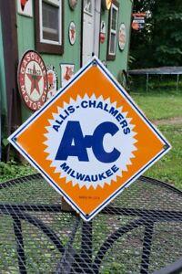 ALLIS CHALMERS porcelain metal sign farm tractor implement vintage style garage