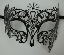 Sun Goddess Crystal Laser Cut Venetian Mask Masquerade BLACK Metal Filigree