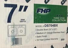 """Fhp Double Bowl 7"""" (4) Hole Sink Model#ds704bx Lot 2398"""
